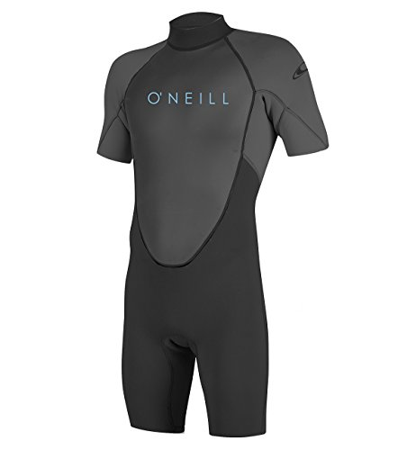 O'Neill Youth Reactor-2 2mm Back Zip Short Sleeve Spring Wetsuit, Black/Graphite, 8
