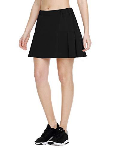 Baleaf Women's Athletic Tennis Skirt Lightweight Golf Skirt Pleated Skort with Pocket Black L