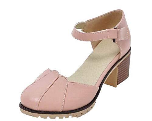 Rose AalarDom à Unie TSFLH007815 Couleur Femme Correct Velcro Talon Sandales OvzwTOq