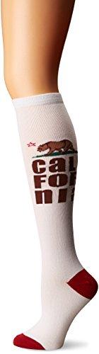 K. Bell Women's Original Series Novelty Knee High Socks, California (White), Shoe Size: 4-10 ()
