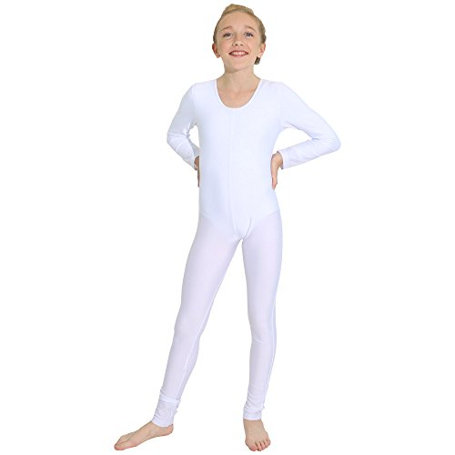 Unitard Dancewear (Danzcue Girls Long Sleeve Unitard Bodysuit Dancewear (Large, White))