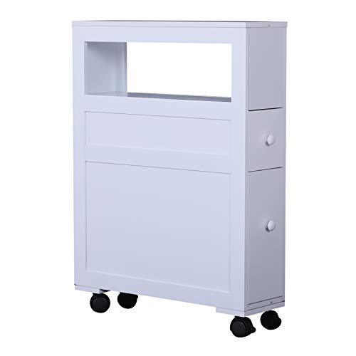 HOMCOM 6 x 20.5 x 26 Wood Rolling Narrow Bathroom Side Storage Cabinet - White
