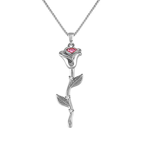 QUINBY 3D Rose Pendant Necklace for Women White Gold Plated Flower Necklace Jewelry for Mother's - Plated Pendant Gold Flower