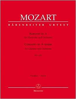 モーツァルト: クラリネット協奏曲 イ長調 KV 622/ベーレンライター社/新全集版/ピアノ伴奏付ソロ