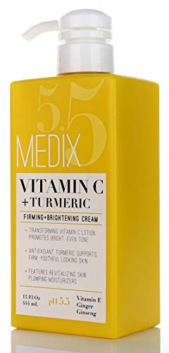 31aJJZVKP0L - Medix 5.5 Vitamin C Cream w/Turmeric for face and body. Firming & brightening cream for age spots, dark spots & sun damaged skin. Anti-Aging Cream Infused w/Vitamin E, Ginger, Ginseng. (15oz)