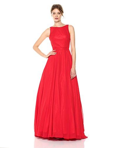Mac Duggal Women's Flowing Chiffon Gown, Red, 2