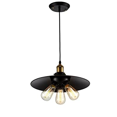 "Ohr Lighting® Edison Vintage Factory 3 Bulb Pendant Light 14.5"" BULB INCLUDED, Matte Black/Antique Brass (ED278P1)"