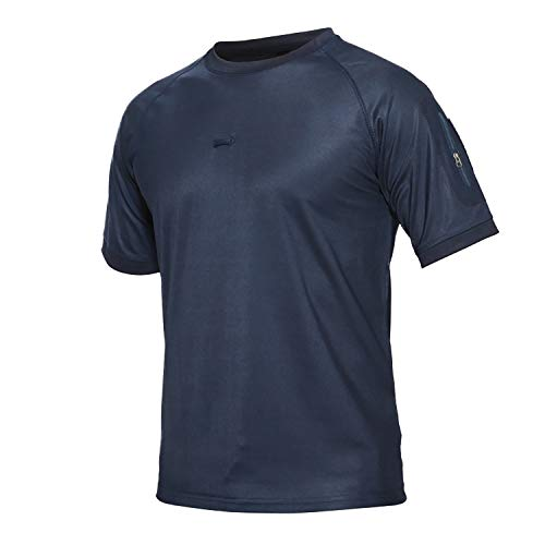 ATHWILL Men's Military Tactical T Shirt Army Performance Round Neck Short Sleeve Outdoor Shirt Blue, XX-Large
