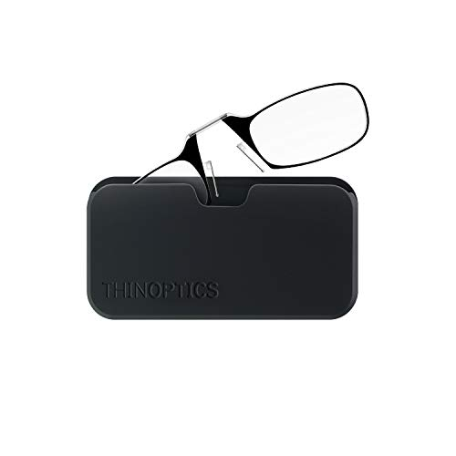 ThinOptics Reading Glasses + Black Universal Pod Case | Classic Collection, Black Frames, 2.50 Strength - Amazon Bookstore Featured Product from ThinOptics