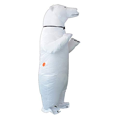 HHARTS Adult White Polar Bear Inflatable Costume Blow up Costume Fancy Dress for