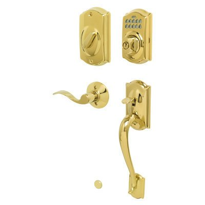 Schlage FE365-CAM-ACC-RH Right Handed Camelot Electronic Handleset with Accent L, Lifetime Polished Brass - Lifetime Polished Brass Accents