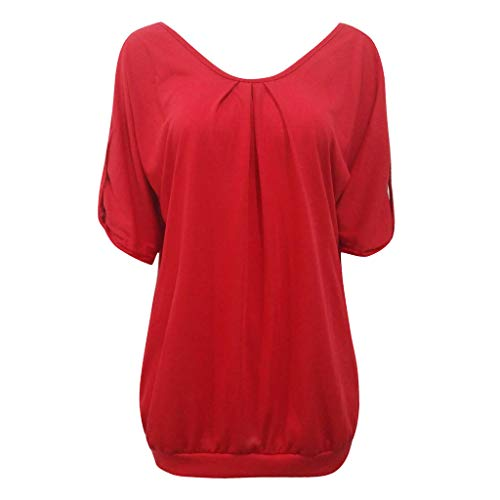 Tops for Women Sexy Elegant,Yezijin Womens Plus Size Fashion Casual Hollow Out O-Neck Solid Tops Shirt 2019 ()