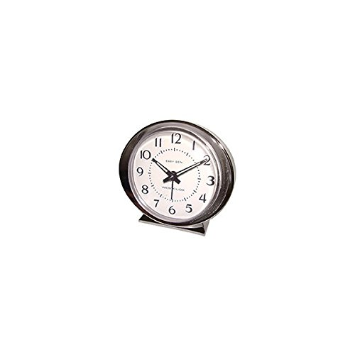 Westclox Alarm Clock Beige Brushed Stainless Steel Case, Metal Bezel Bezel Alarm