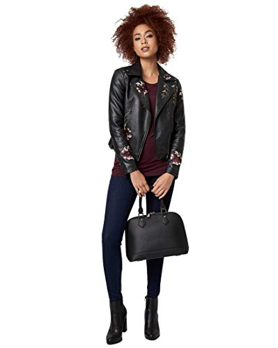 Embroidered Jacket Multi (LE CHÂTEAU Embroidered Leather-Like Jacket,L,Black/Multi)
