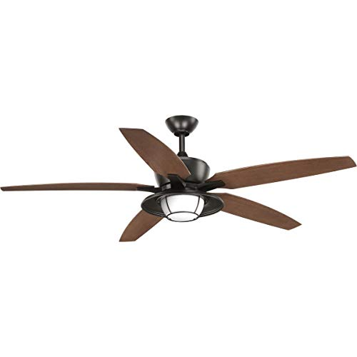 Progress Lighting P2564-2030K Protruding Mount, 5 Walnut Blades Ceiling fan with 18 watts light, Antique Bronze