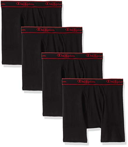 Champion Men's Elite X-Temp Boxer Briefs 4-Pack, Black, Large
