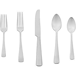 Amazon Basics 20-Piece Stainless Steel Flatware Set with Square Edge, Service for 4 7