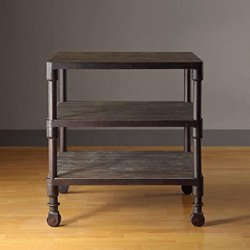 Wood And Metal Gray End Table On Wheels, Nightstands, Shelf With Reclaimed  Look Shelves