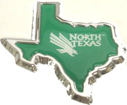 University Of North Texas Chrome Shape Of Texas Auto Emblem by Elektroplate