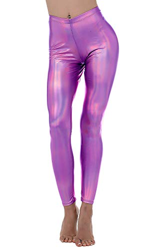 - Liquid Wet Look Shiny Metallic Stretch Leggings (S, Fuchsia)