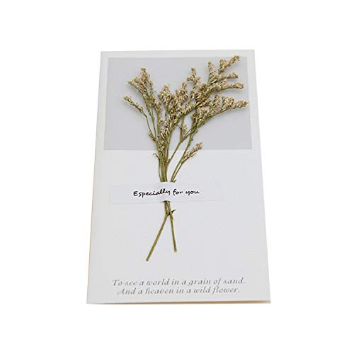 (1pcs Birthday Dried Flowers Invitations Postcards Wedding Party Festival Greeting Card,Black)
