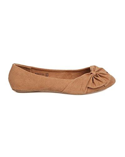 Alrisco Kvinner Faux Suede Bow Flat - Casual, Dressy, Kontor - Ruched  Ballett Flat ...
