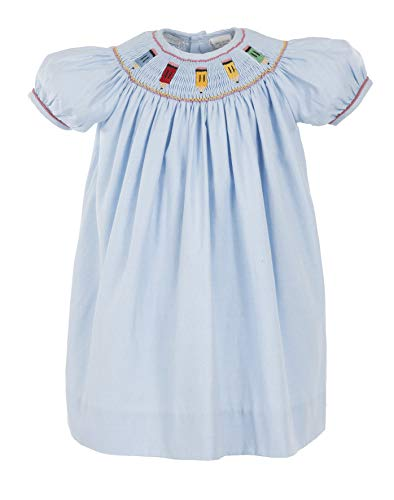 (Carriage Boutique Girls Short Sleeve Bishop Blue Dress Smocked with Colored Pencils)