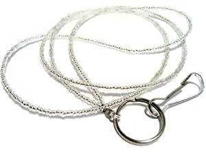 - ATLanyards Plain Silver Seed Bead Lanyard- Silver Beaded Badge Holder- Sb4