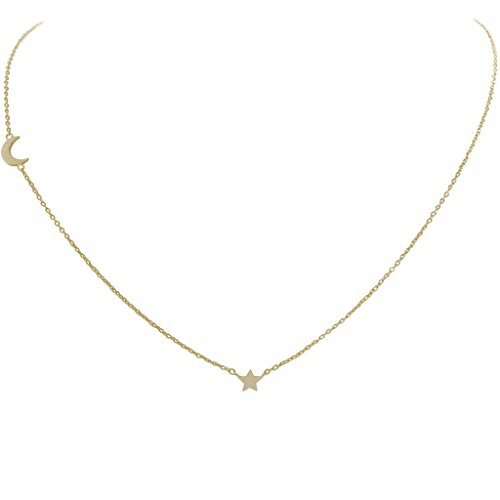 Humble Chic Tiny Star & Moon Necklace - Stationed Pendant Celestial Crescent Delicate Chain Link, Gold-Tone