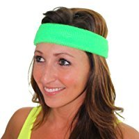 80s Neon Clothing (Extreme 80's Neon Green Headband Unisex-Adult)