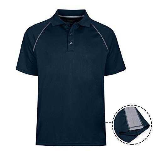 MOHEEN Men's Short Sleeve Moisture Wicking Performance Golf Polo Shirt, Side Blocked, Tall Sizes: M-6XL (4XL, Navy Blue)