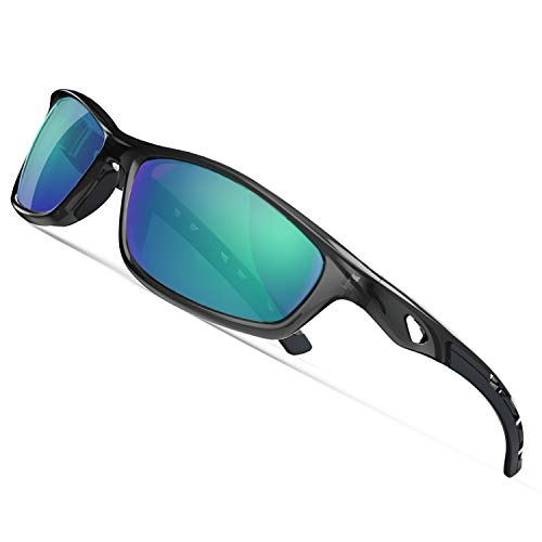 TOREGE Polarized Sports Sunglasses for Man Women Cycling Running Fishing Golf TR90 Unbreakable Frame TR08 (Transparent Gray&Black&Green Lens)