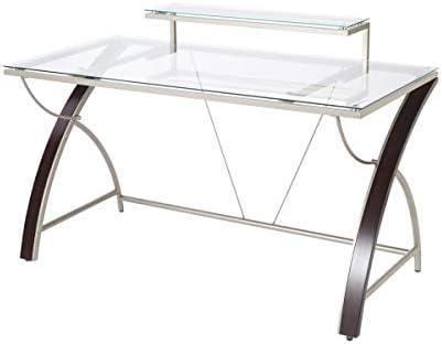 "Realspace Axley 55""W Glass Computer Desk, Cherry/Silver"