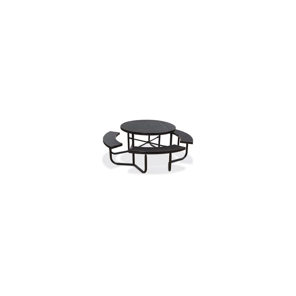Eagle One Portable Round Expanded Metal Table with 4 Seats   Black   Honeycomb Pattern