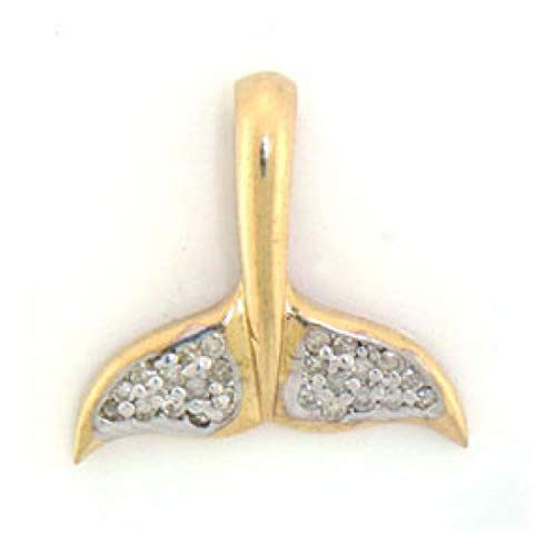14k Solid Yellow Gold Diamond Whale Tail Pendant (Style# 1417)