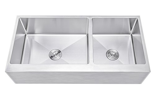 42 Inch 60/40 Offset Double Bowl Stainless Steel Farmhouse Sink - Flat Apron Front 15mm Radius Coved Corners