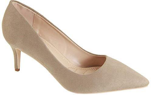 Bella Marie Marque-4 Women's Pointed Toe Low Mid Kitten Heel Slip On Pumps Shoes Nude 7.5