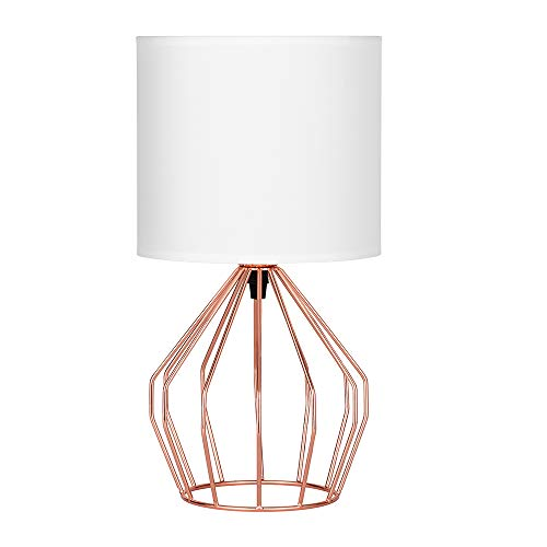HAITRAL Rose Gold Desk Lamp - Minimalist Bedside Lamp with Rose Gold Hollowed Out Base and Linen Fabric Shade,Table Lamps for Bedroom, Living Room, Girls Room, Pink Room - Rose Gold ()