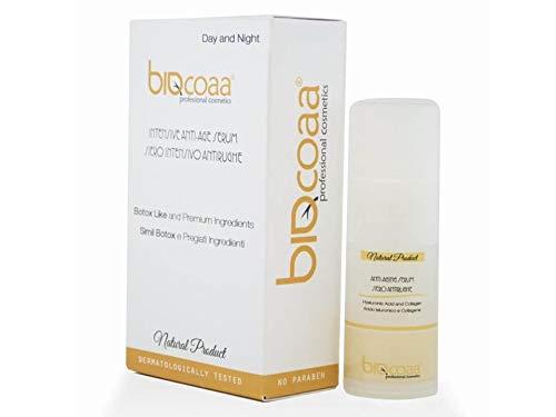 SUERO INTENSIVO ANTIARRUGAS - Concentrado especial de ingredientes de las propiedades anti-envejecimiento para el tratamiento de la piel dañada - El Mejor Sérum Anti-Edad contorno de ojos - Orgánico - 15 ml - aprieta y relaja - el único con ácido hialuróni
