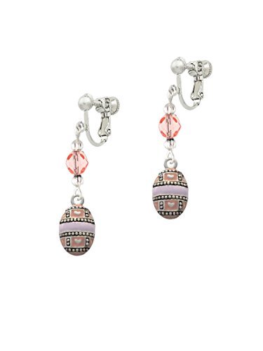 Silvertone Egg Pink & Lavender Pink Czech Glass Bead Dangle Clip On Earrings