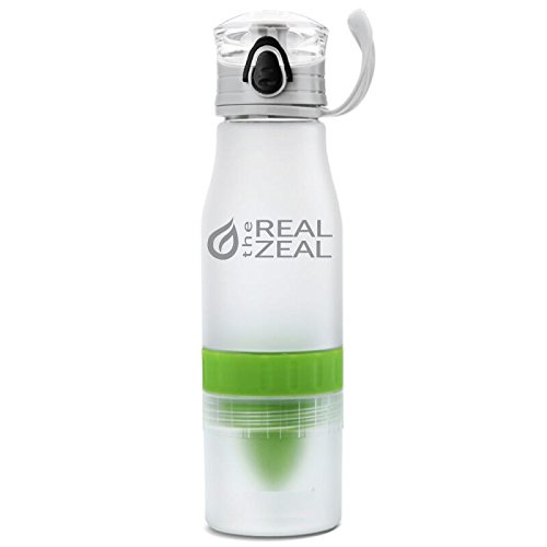 The Real Zeal Infüse Flip-Top BPA Free Water Bottle with Fruit Chamber and Integrated Juicer, White/Green, 24 oz