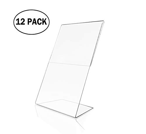 Acrylic 4x6 Sign Holders Picture Frames in Bulk (12 Packs ) Vertical and Horizontal Slanted - 4 X 6 Acrylic Picture Frames