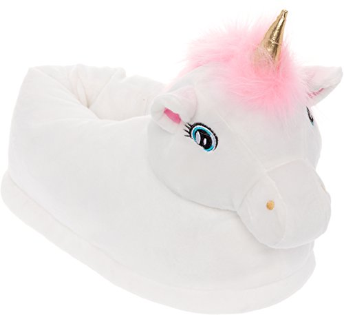 Silver Lilly Light Up LED Unicorn Slippers - Plush Novelty Animal Slippers by White AHx5J9