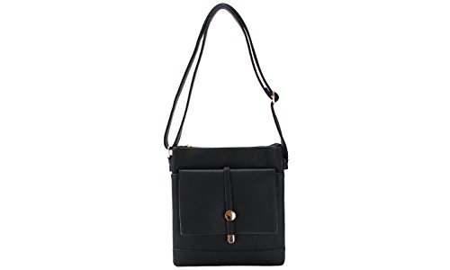 Bag Flat Multi Compartments Crossbody Black rtgq4Yqwx