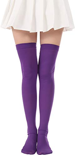 Over Knee Long Striped Stockings Saint Patrick's Day Socks Costume Thigh High Tights(02 Purple stockings) ()