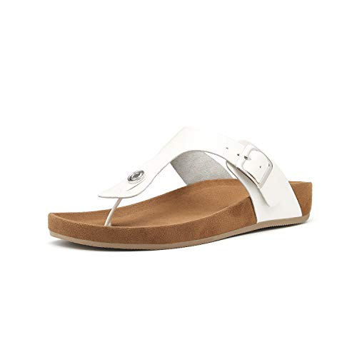 (Women's T-Strap Thong Sandals Buckle Slip On Flip-Flops Beach Casual Platform Footbed Slippers (5, White) )