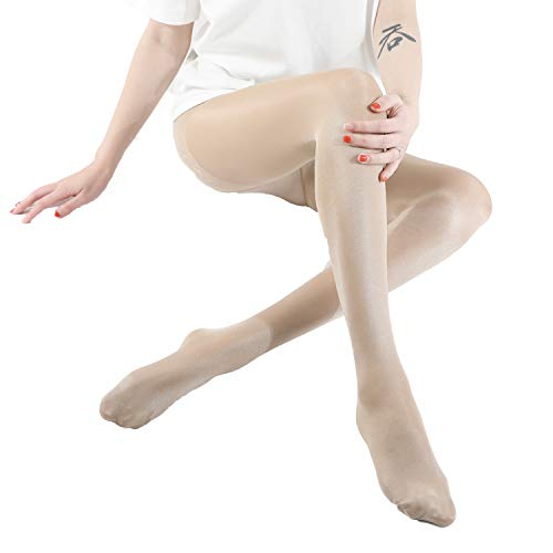 (WEANMIX 2 Pair Women's Nylon Pantyhose Stockings Control Top Sheer Stretch Thin 40 Denier Footed Tights Nude/Black )