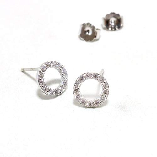 Poe Circle - PAVE TOPAZ STERLING SILVER OPEN CIRCLE EARRINGS