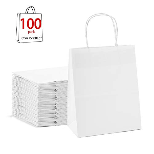 "GSSUSA 8x4.75x10.5""100pc White Paper Bags with Handles,Goodie Bags, Mechandise Bags, Retail Bags, Party Bags, White Bags with Handles Bulk, 100% Recycled Paper Bags"