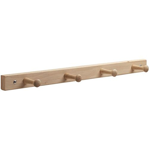 InterDesign Wall Mount Wood Storage Rack – Hanging Hooks for Jackets, Coats, Hats and Scarves - 4 Pegs, Natural